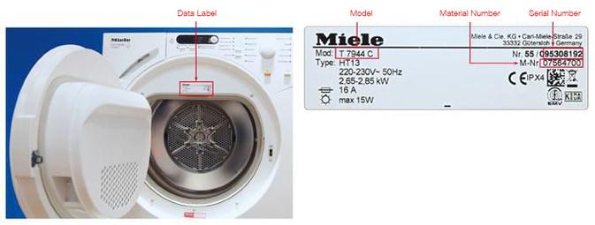 Miele Dataplate Tumble Dryers