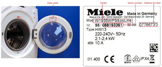 Miele Dataplate Washing Machines